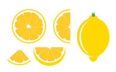 Lemon set. Isolated lemon on white background