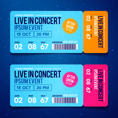 Vector Illustration concert ticket template. Concert, party or festival ticket design template