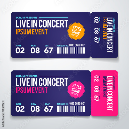 Vector Illustration Concert Ticket Template Concert Party Or