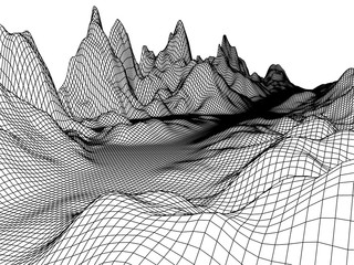 Abstract mountains range mesh background. 3D terrain vector grid isolated.