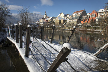 cityscape frohnleiten on river mur in winter, styria, austria