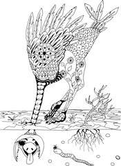 The ostrich stuck its head in the sand. Freehand sketch drawing for adult antistress coloring book