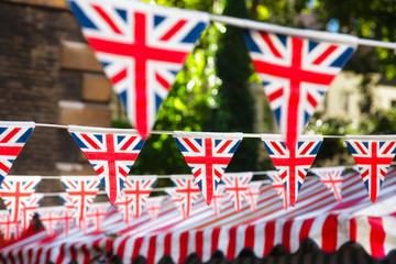Strings of Union Jack bunts festive decoration in London England UK Fotomurales