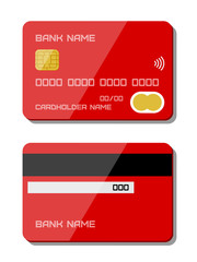 Credit card icons. Flat design