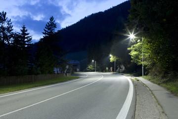 night road with modern LED streetlights Fotomurales