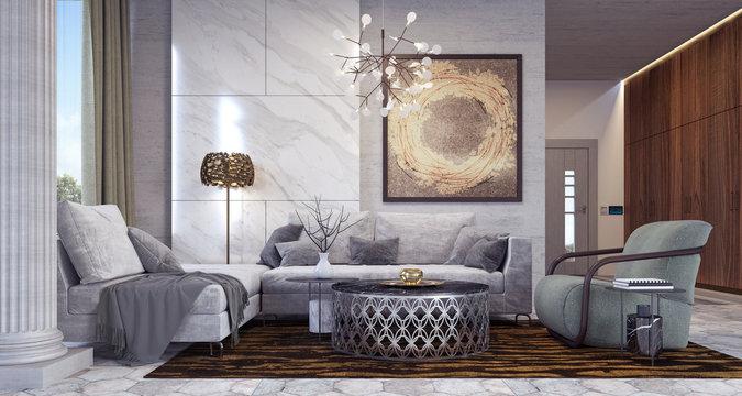 Modern living room design 3D Rendering