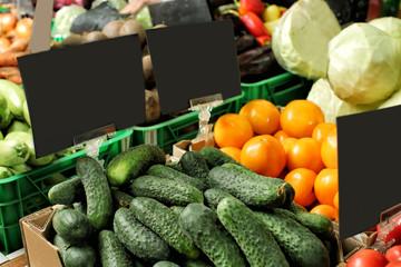 Variety of fresh vegetables in supermarket