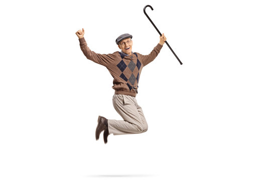 Senior with a walking cane jumping and gesturing happiness