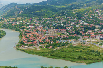 The Top View Of Mtskheta, Georgia, The Old Town Lies At The Confluence Of The Rivers Mtkvari And Aragvi. Svetitskhoveli Cathedral, Ancient Georgian Orthodox Church, Unesco Heritage In The Center