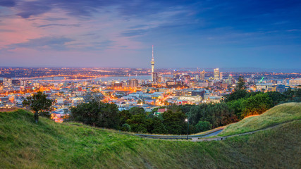 Aluminium Prints Oceania Auckland. Cityscape image of Auckland skyline, New Zealand taken from Mt. Eden at sunset.