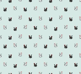 cat funny seamless vector pattern