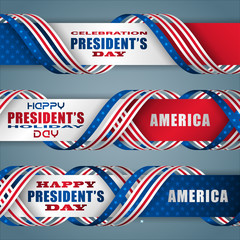 Set of web banners, background with texts and national flag colors for American President's Day, event celebration; Vector illustration