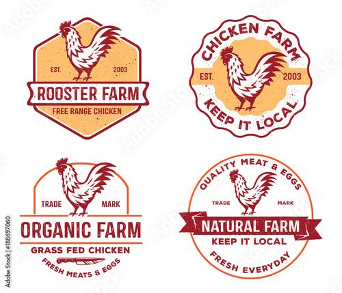 vector of vintage badge, label logo of poultry, farm