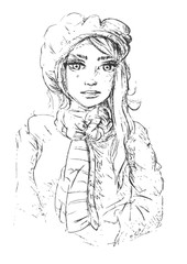 potlood schets vector vrouw portret