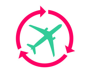 circle arrow plane airport flight airline airway image symbol icon