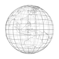 Globe contour. Vector rendering of 3d
