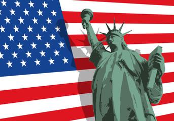 Statue de la liberté - New York - symbole - américain - État Unis - drapeau - monument