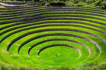 Unique Inca circular terraces at Moray (Ancient agricultural experiment station) - Peru, Latin America