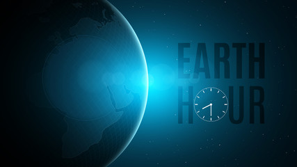 Earth Hour. Cosmic concept. Futuristic planet earth in space. 60 minutes without electricity. Sunrise with a blue glow. Global holiday. Abstract world map. Space and stars. Vector