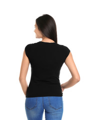 Young woman in black t-shirt on white background. Mockup for design