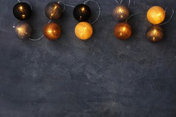 Festive christmas lights on dark background