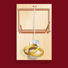 mariage - alliance - piège - piège à souris - marié - symbole - couple - concept - danger - risque