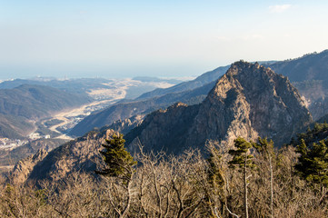 Panoramic and idyllic nature of South Korea, Seoraksan National Park, Pyeongchang