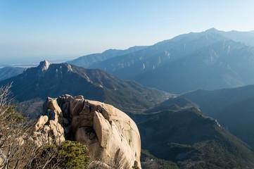 Panoramic and idyllic nature of South Korea, Seoraksan National Park, Pyeongchang