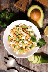 chickpea salad with avocado and feta cheese