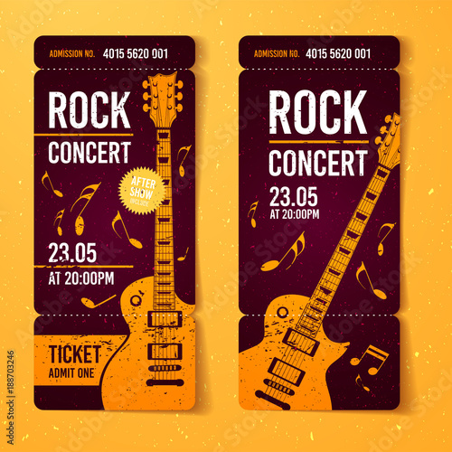 Vector Illustration Rock Concert Ticket Design Template With Orange Guitar  And Cool Splash Effects In The  Concert Ticket Design