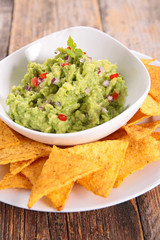 guacamole with tortilla chip