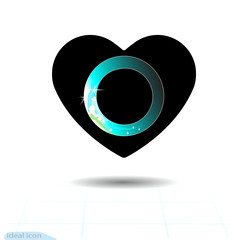Heart icon. A symbol of love. Valentine s day with the sign of the Wait. Flat style for graphic and web design, logo. Frame shadow. Modern preloader on blue gradient background. Vector gif