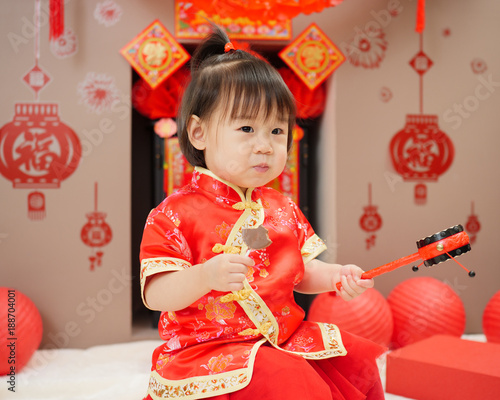 Chinese baby girl with traditional dressing up celebrate chinese new chinese baby girl with traditional dressing up celebrate chinese new yearme fu m4hsunfo