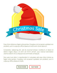 Christmas Sale Promo Label with Santa Claus Hat