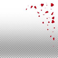 3d hearts valentine background. Top right corner on transparent grid light background. 3d hearts valentines day cool design. Vector illustration.