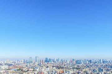 Spoed Fotobehang Aziatische Plekken 恵比寿から見た港区方面の街並みと東京タワー