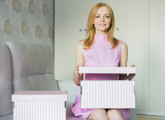 woman with parcel box, gift box
