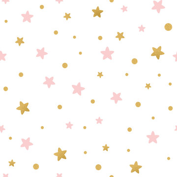 Vector seamless pattern decoreted gold pink stars for Christmas backgound or baby shower textile