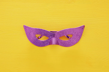 Top view image of masquerade venetian mask background. Flat lay. Purim celebration concept (jewish carnival holiday).