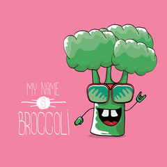 vector funny cartoon cute green smiling broccoli character isolated on pink background.