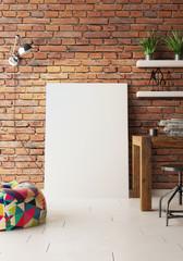 Artist studio , empty canvas on floor  3d render