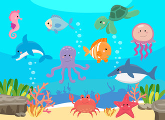 Sea life, marine animals set with underwater landscape - seahorse, star, octopus, turtle, shark, fish, jellyfish, dolphin, crab. Cute cartoon illustration in flat style