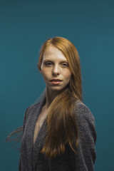 Portrait of attractive redhead woman