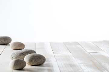 grey pebbles for meditation, mindfulness, mineral spa or white emptiness