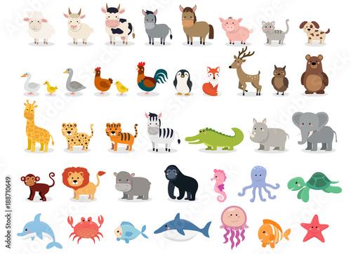 cute animals collection farm animals wild animals marina animals