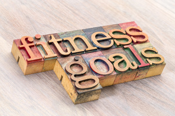 fitness goals word abstract in wood type