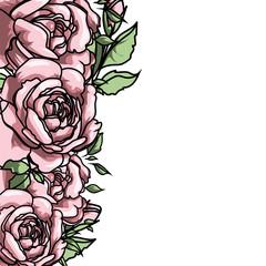 Red rose cartoon vector for design, web, poster. Botanical garden illustration