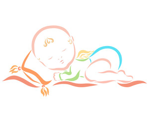 Funny sleeping baby with wings