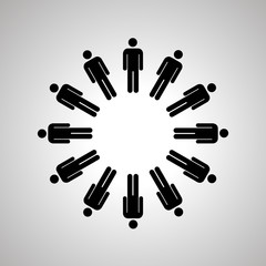 Man silhouettes arranged in round dance, black human icons