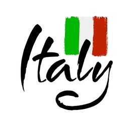 Italy hand lettering. Name of country. Ink illustration. Modern brush calligraphy. Isolated on white background.